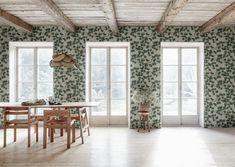 Pine by Sandberg - Green - Wallpaper : Wallpaper Direct Green Wallpaper, Flower Wallpaper, Wall Wallpaper, Cottage Wallpaper, Pine Branch, Witch House, Gray Background, Inspired Homes, Wabi Sabi