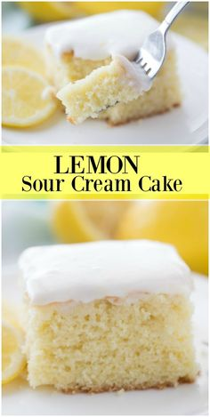 Lemon Sour Cream Cake - - Totally easy one layer cake recipe! Lemon Sour Cream Cake, Sour Cream Icing, Sour Cream Desserts, Köstliche Desserts, Delicious Desserts, Cake With Sour Cream, Recipes With Sour Cream, Plated Desserts, Lemon Dessert Recipes