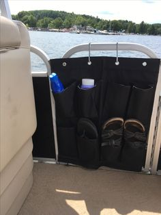 Cut a shoe organizer to fit an unused door. Perfect for sunscreen, phones, keys. Wooden Boat Building, Boat Building Plans, Boat Plans, Pontoon Boat Accessories, Boating Accessories, Boat Organization, Boat Restoration, Boat Storage, Storage Ideas