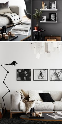Interior design details, décor, lamp, sofa, black+grey+white colour combination