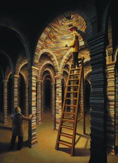 """Wow. Even the pillars and ceiling are made of books! Rob Gonsalves """"The Library."""""""