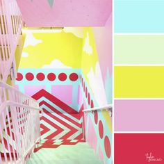 Color inspiration from bright pop art staircase! Neon Colour Palette, Bright Color Schemes, Pink Palette, Colour Combinations, Pop Art Colors, Color Pop, Paint Colors, Green Paintings, Art Collages