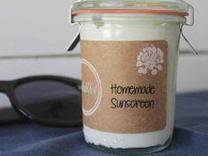 16 ounce sunscreen:  2 c. coconut oil, 4 t. vitamin E oil & 4 T. non-nano zinc oxide powder