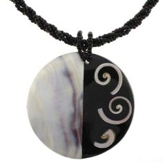 Abalone Pendant with Bead Necklace - 54mm, Round - 18'' Overall Length Necklaces- Semi-Precious Gemstones. $14.95