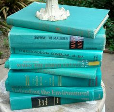 Spring Books I - Vintage Books Turquoise Teal Beach Cottage