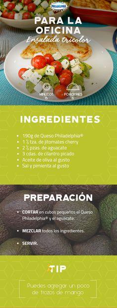 Saborea una comida ligera en la oficina, esta Ensalada tricolor será la opción ideal. #recetas #receta #quesophiladelphia #philadelphia #crema #quesocrema #queso #comida #cocinar #cocinamexicana #recetasfáciles #ensalada #ensaladas #oficina #comer #cocina #recetasensaladas #jitomate
