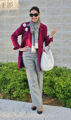 Ellen Tracy Berry Wool and Angora Coat, Linen Houndstooth Ralph Lauren Pants, Eyeful Merino Wool Scarf, Monet Pins, Oscar de la Renta Silk Top, Kate Spade, Karolina Shoes, and Dooney & Bourke Leather Bag. Ralph Lauren Sunglasses. Colorful Winter Outfit!