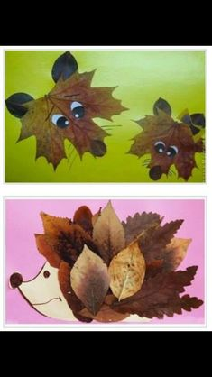 Collages of dried leaves creative ideas for the .- Collagen aus getrockneten Blättern kreative Ideen zum Selbermachen Collages of dried leaves creative ideas to make your own - Kids Crafts, Fall Crafts For Kids, Toddler Crafts, Preschool Crafts, Art For Kids, Autumn Activities For Kids, Fall Art For Toddlers, Harvest Crafts For Kids, Fall Arts And Crafts