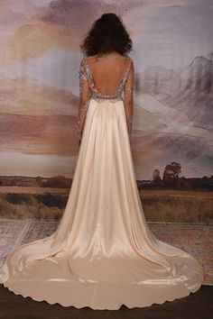 Santorini Couture Wedding Gown from the Vagabond Collection by Claire Pettibone | Santorini is available as shown with Multi-colored bodice and Blush silk skirt, or any of our silk color options. Shown unlined, the bodice includes a silk underlayer for our brides. We recommend one of our nude shades: Porcelain, Almond or Mocha for the illusion look. We also offer an Ivory version with any of our silk color options.