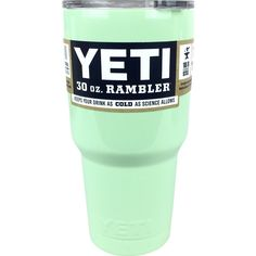 Mint Green Yeti Rambler Tumbler Coolers Cups Cooling Cup, Stainless Steel Car Cup Mint Green Yeti Rambler in a 30 oz. This colored Yet is powder coated for a high quality finish and long term use Mint Color, Mint Green, Yeti 30 Oz Rambler, Custom Yeti, Cooler Box, Car Buying Tips, Yeti Cup, Cute Cups, Sea Foam