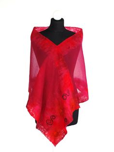 Nunofelted scarf Cherry shawl unique 3D pattern