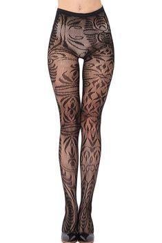 New arrivals 2016 long compression stockings female black arabesque Jacquard seamless pantyhose tights sexy leg wear Stockings Lingerie, Nylon Stockings, Lace Tights, Fishnet Tights, Fashion Tights, Tights Outfit, Stockings Outfit, Bas Sexy, Moda Casual
