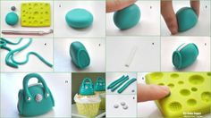 How to Make Fondant Bag Cupcake Toppers…  Source: http://bakehappy.blogspot.fr/2012/07/how-to-make-barrel-handbag-cupcakes.html#.UVir0hyeN8E —