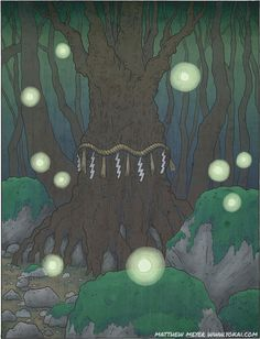 Kodama are tree spirits & protectors of the forest. To cut down a tree inhabited by Kodama brings very bad luck.