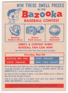 For sale 1957 topps baseball bazooka contest card may 4 emorys memories. Bazooka Gum, Sports Advertising, Field Of Dreams, Baseball Equipment, Sports Figures, New York Giants, Boston Red Sox, Baseball Cards, Baseball Stuff