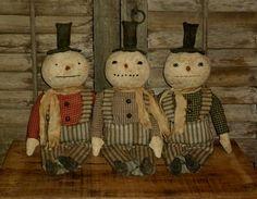 Primitive Folk Art set of 3 Snowman by FolkArtandPrimitives