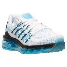 Women's Nike Air Max 2015 Running Shoes | Finish Line | White/Clearwater/Black The Nike Air Max is back for 2015 and lighter than ever, offering sick good looks and stellar performance for a sneaker you can rock everywhere from the streets to the gym. Innovations to the design, including seamless upper construction and advanced Flywire technology with eyestays, take the Air Max you know and love to the next level. Your feet can breathe easy in the latest iteration of the Air Max, thanks to…