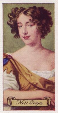 The actress Nell Gwyn, from a 1600s playing card.