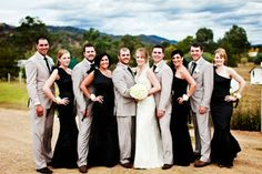 black suits and grey bridesmaid dresses   Mix matched bridesmaid dresses - Bridesmaids dresses no longer need to ...