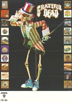 Grateful Dead [Uncle Sam Skeleton and album covers: Arista, Warner Bros. Grateful Dead Tattoo, Grateful Dead Albums, Grateful Dead Image, Grateful Dead Poster, Rock Posters, Band Posters, Music Posters, Dead Images, Forever Grateful