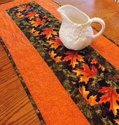 Fall Leaves Table Runner Quilt  Orange  Green by KeriQuilts, $55.00: