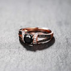Round Cut Black & White Sapphire Rose Gold S925 Engagement Rings Affordable Rings, Everyday Rings, Black Sapphire, Matching Rings, Promise Rings, Fine Jewelry, Husband, Wedding Rings, Rose Gold