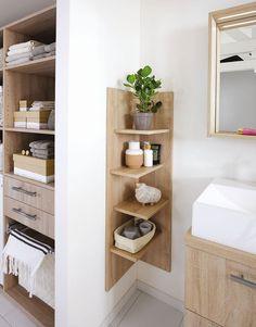 Create a small bathroom: the 10 good ideas for sewing - Côté Ma . Create a small bathroom: The 10 good ideas for sewing - Côté Ma . - Create a small bathroom: The 10 good ideas for sewing - Côté Ma… - - # Côté Bad Inspiration, Bathroom Inspiration, Bathroom Ideas, Ideas For Small Bathrooms, Bathroom Remodeling, Remodeling Ideas, Corner Furniture, Small Bathroom Storage, Small Storage