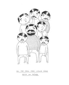 """By My Buemann. Young Danish graphic designer and illustrator. This is a motif from a series titled """"People I want to meet"""" consisting of 8 postcard sized prints. Signed by artist."""