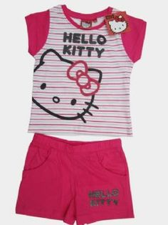 "GIRLS SANRIO HELLO KITTY STRIPED TOP & SHORTS SETS    Girls beautiful Sanrio Branded Hello Kitty "" Striped Summer "" Top & shorts sets in three great colours, Light Pink, Dark Pink or Blue. Made from 100% Cotton these outfits are great value! with a great Hello kitty all over design as shown in pictures. The shorts have an elasticated waist and two front pockets. Great quality Outfits!   Our Price: £6.75"