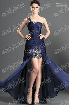 Wholesale Prom Dresses - Buy Floral One-shoulder Hi-low Prom Dresses Split Front Chiffon Evening Dress Formal Real Actual Images, $105.55 | DHgate.com