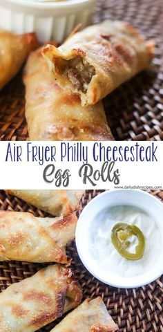 A favorite tailgating recipe, these Air Fryer Philly Cheesesteak Egg Rolls are both easy and delicious. Always a huge hit at any gameday event, stuffed with steak, cheese, peppers and mushrooms. Or leave out the veggies and just do steak and cheese all the way. Air Fryer Recipes Breakfast, Air Fryer Oven Recipes, Air Frier Recipes, Air Fryer Dinner Recipes, Appetizer Recipes, Meat Appetizers, All You Need Is, Easy Snacks, Easy Meals