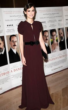 """But Kidman wasn't the only leading lady to channel Old Hollywood glamour this week. Keira Knightley -- who is always dressed to impress -- wore a chic Burberry gown to the UK gala premiere of """"A Dangerous Method,"""" in which she co-stars alongside Michael Fassbender and Viggo Mortensen. (1/31/2012)"""