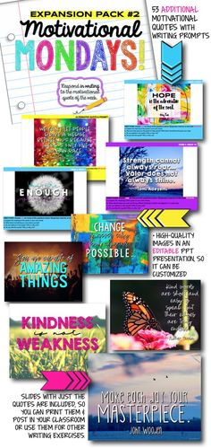 Year of Bell Ringers: Motivational Monday Quote Prompts Expansion Pack Monday Motivation Quotes, Motivational Monday, School Resources, Teacher Resources, Teaching Activities, Literacy Games, Teaching Ideas, Classroom Signs, Classroom Displays