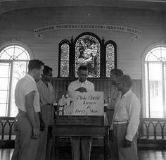 ULCA British Guiana ca 1950s - 728 Make Christ Known to Every Man    Make Christ Known to Every Man campaign gathering, Ebenezer Lutheran Church, New Amsterdam, British Guiana.    Photo B-728.  ULCA 19/8/3/3, box 2, f7 British Guiana, ca. 1950s.  ELCA Archives image.