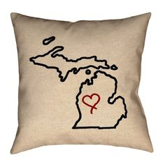 "Ivy Bronx Austrinus Michigan Love Outline Cotton Throw Pillow Size: 18"" x 18"", Fill Material: Poly Twill"