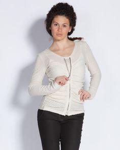 Плетена дамска блуза с цип - екрю - Puffy #Efrea #Ефреа #online #онлайн #пазаруване #дрехи