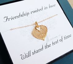 Friendship necklace with message card, Gold leaf necklace, Bridesmaid gift ideas, leaf jewelry,fall wedding, bridal jewelry. $34.00, via Etsy.