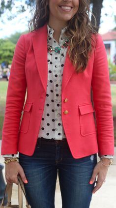 Polka dot outfit with Elodie Necklace from Stella Dot… Cool Outfits, Casual Outfits, Coral Blazer Outfits, Look Blazer, Blazer Jeans, Blazer Fashion, Fashion Outfits, Polka Dot Blazer, Polka Dots
