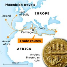 Phoenicians or Canaanites trade routes they travelled the Horn of Africa long before Vespucci