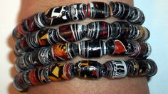 Bracelet of beads from upcycled crisp packets Craft Projects, Craft Ideas, Upcycled Crafts, How To Make Beads, Homework, Fundraising, Fun Crafts, Crisp, Buttons