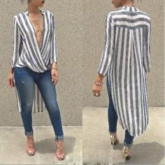 White and Black Striped Longsleeve Tall Blouse Trend Fashion, Moda Fashion, Womens Fashion, Mode Outfits, Casual Outfits, Chiffon, Blouse Outfit, Mode Inspiration, Mode Style