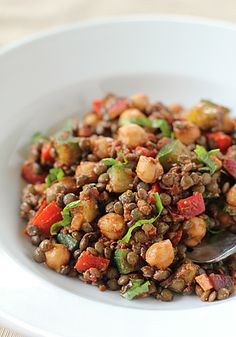 chickpea and lentil salad with sundried tomato vinaigrette..Omit or replace the cheese..