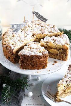 Winter Apfelkuchen, Haselnuss, Spekulatius, Marzipan-Streusel