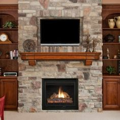 stunning wall unit with faux stone fireplace and fireplace mantel shelf also tv…