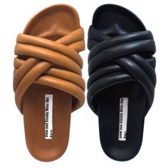 Triple Strap Slide - 'Shoe' began as the first collection of footwear for Slow and Steady Wins the Race. It is a simple catalogue of conceptual but classic s. Black Leather Shoes, Suede Shoes, Leather Sandals, Moda Fashion, Fashion Shoes, Sock Shoes, Shoe Boots, Dinner Gowns, I Love My Shoes