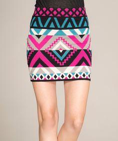 Flying Tomato Teal & Pink Sweater Skirt #skirt #clothing