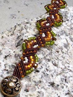 Brown Micro Macrame Bracelet with Orange and Green. $32.00, via Etsy.