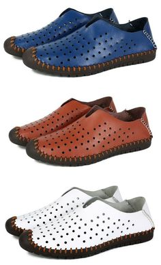 Men Hollow Out Hand Stitching Anti-collision Toe Slip On Casual Loafers