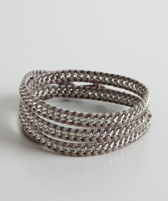 Chan Luu : grey and silver chain and leather wrap bracelet