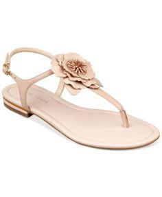 Marc Fisher Elysone T-Strap Flat Sandals | macys.com